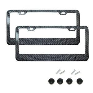 Image 1 - License Plate Frame Black Carbon Fiber / Transparent Number Plate TAG Protector Cover for Front Rear Bracket Car Accessories