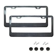 Marco de placa de matrícula negro de fibra de carbono/cubierta protectora de etiqueta de número de placa transparente para accesorios de coche de soporte trasero delantero