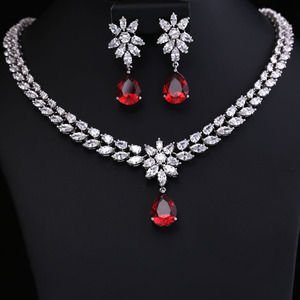 Image 2 - COlOR BEST QUALITY BRILLIANT CRYSTAL ZIRCON EARRINGS AND NECKLACE JEWELRY SET WEDDING DRESS ACCESSARIES