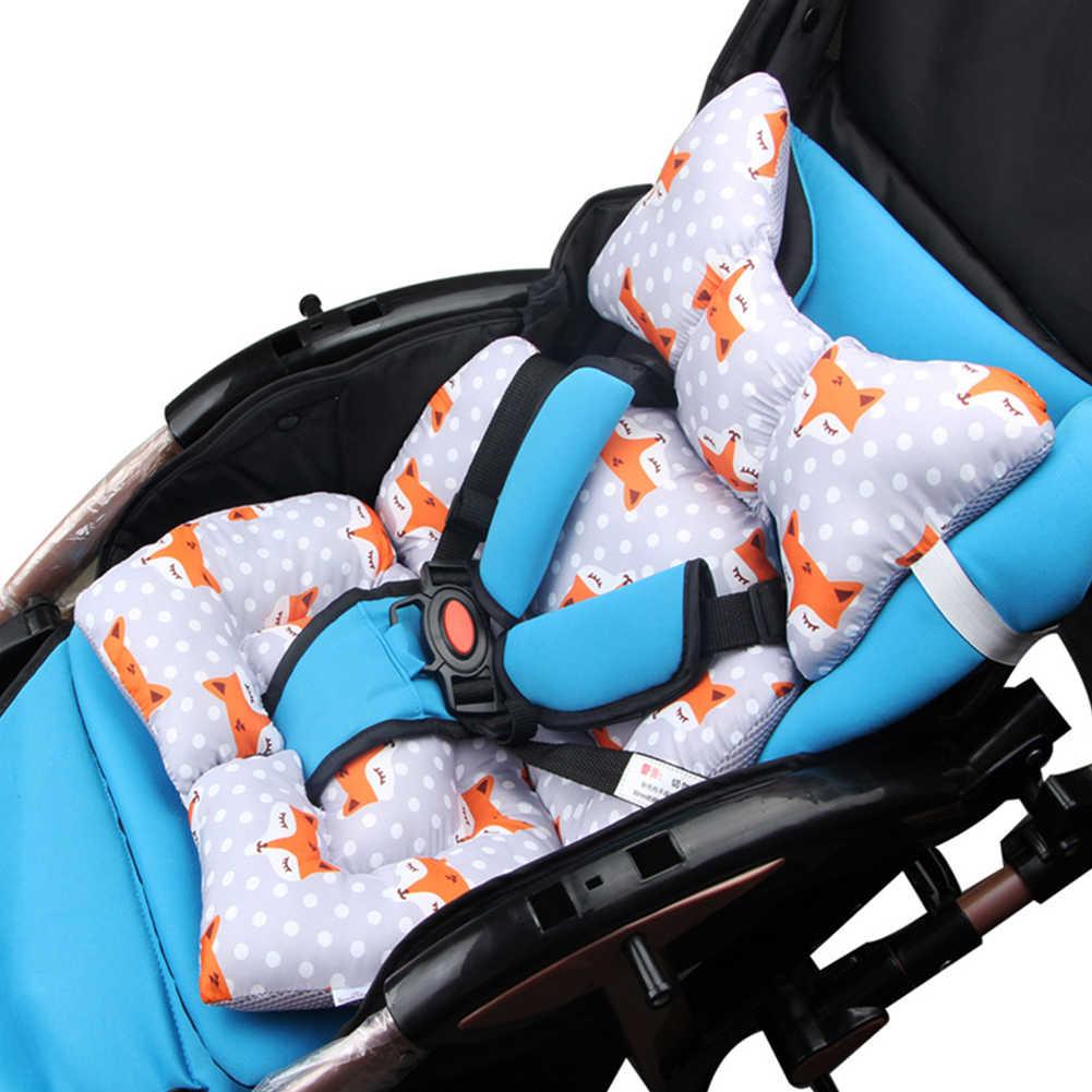 ที่นั่งเบาะเก้าอี้ที่นอนรถเข็นเด็กอบอุ่นหนาหมอนเด็กการ์ตูนสัตว์ผ้าฝ้าย Pad