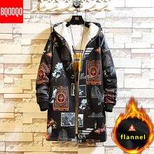 Fleece Jacket Winter Parkas Men 5XL Print Military Japanese Hooded Lon