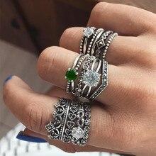 12pcs/set Bohemian Retro Crystal Flower heart Hollow Gem Silver Ring Set Women Wedding Anniversary Gift