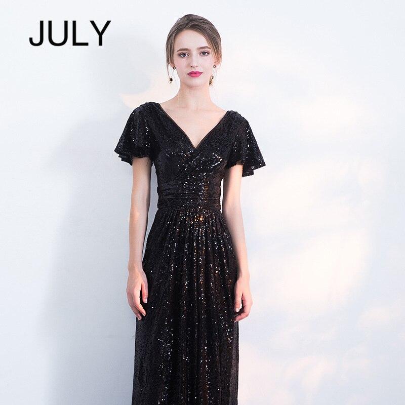 2019 New Sexy Fishtail Party dress V neck Sequin Short sleeveParty Dress Women Elegant black Long Evenning Party Dress Vestidos in Dresses from Women 39 s Clothing
