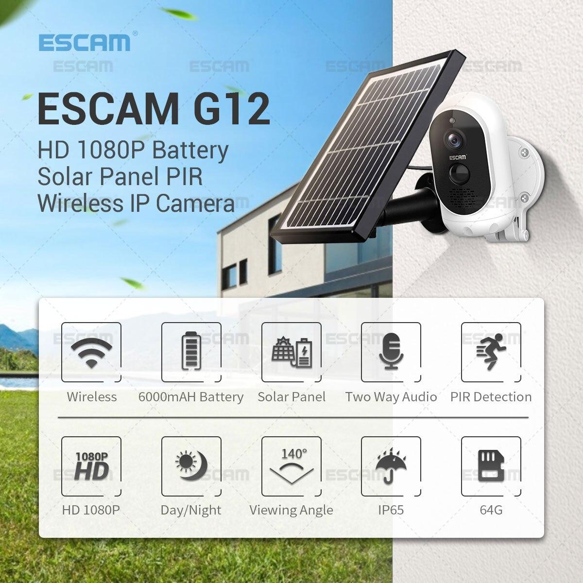 Купить escam g12 1080p full hd наружная аккумуляторная батарея солнечная