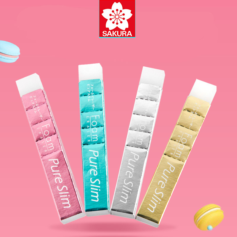3pcs/lot Sakura Foam Eraser Pure Slim RFPS150 Perforation In Rubber Cut It According To The Keyhole White Pencil Erasers