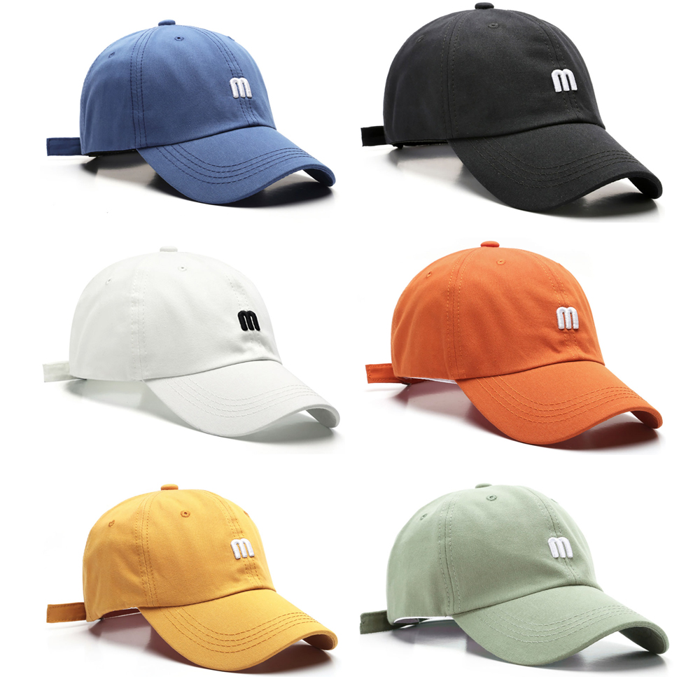 M Letter Embroidery Peaked Cap Curved Eaves Cotton Shade Baseball Cap Czapka Z Daszkiem |dipper Cap Kepka Mitsubisi