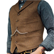 Men's Suit Vest Boutique Wool Tweed Slim Fit Leisure Cotton Male Gentleman Busin