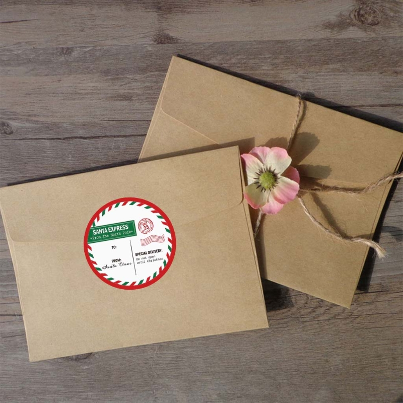 500pcs/Roll 8 Designs Merry Christmas Thank You Stickers Seal Labels for Envelope Cards Gift Package Scrapbooking
