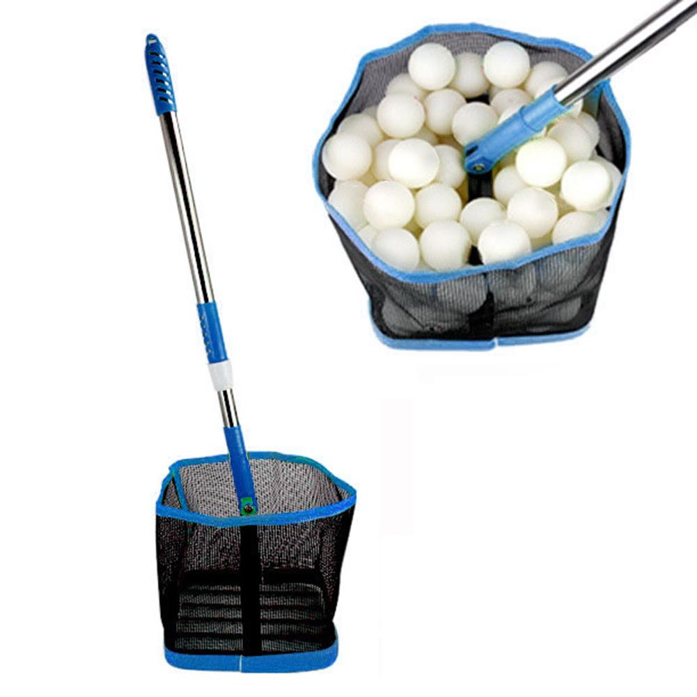 Telescopic Table Tennis Ball Picker 2 Section Aluminum Pole Table Tennis Picking Net Collection Can Hold 125 PCS Ping Pong Balls