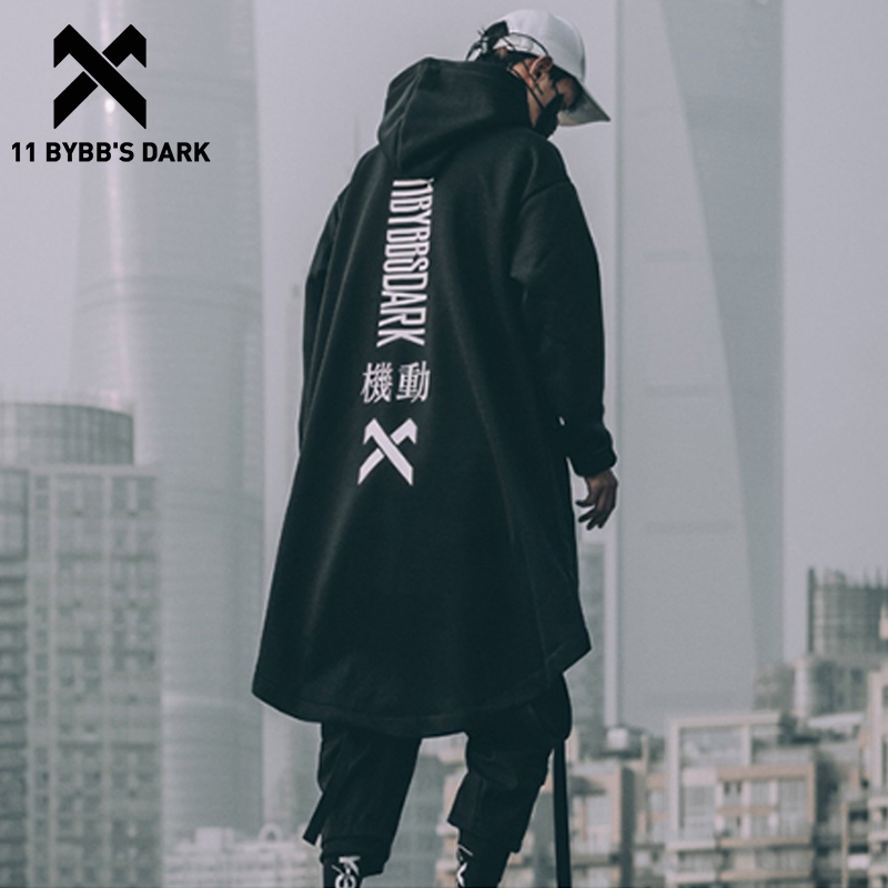 11 BYBB'S DARK Letter Embroidered Hip Hop Cloak Long Jacket Men Casual Streetwear Harajuku Pockets Turtleneck Trench Coats Male