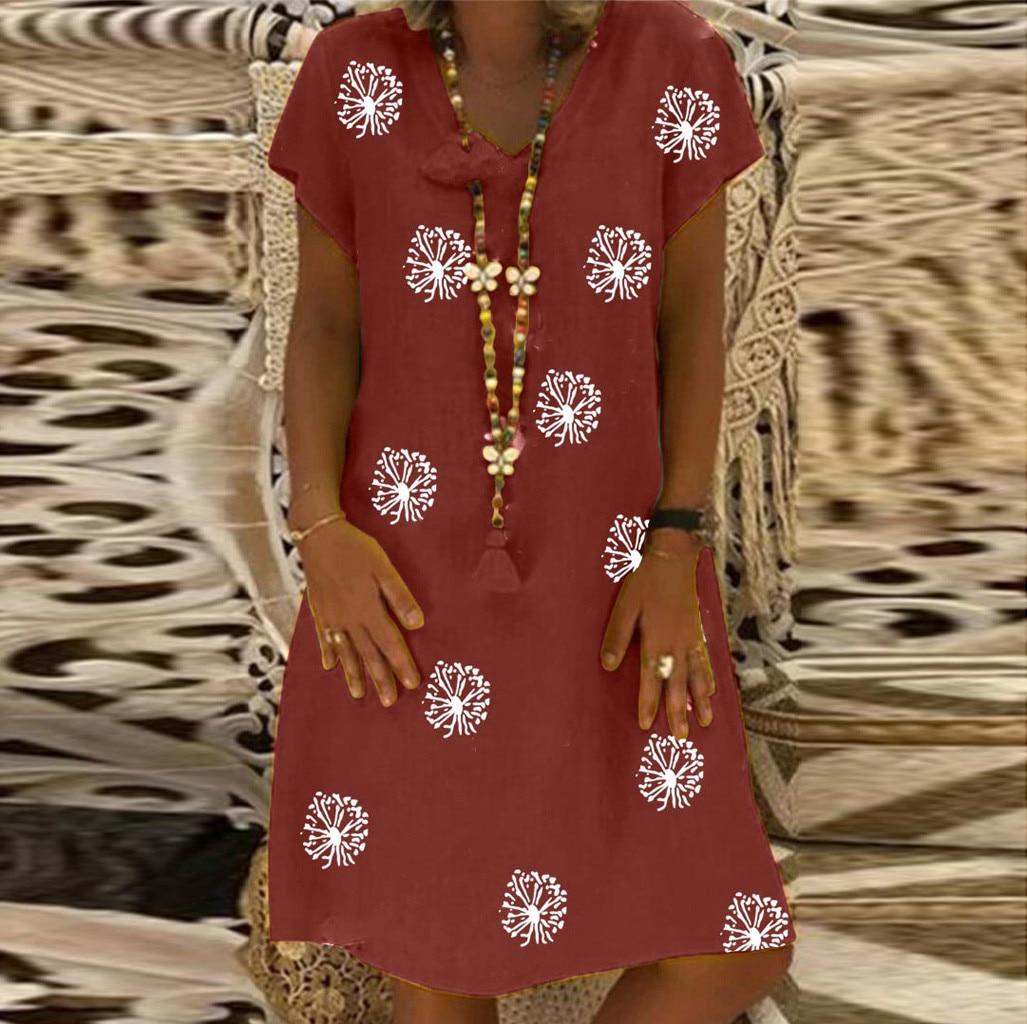 Women Plus Size Casual Floral Printed V neck Short Sleeve Dress Loose Dress vestido de mujer