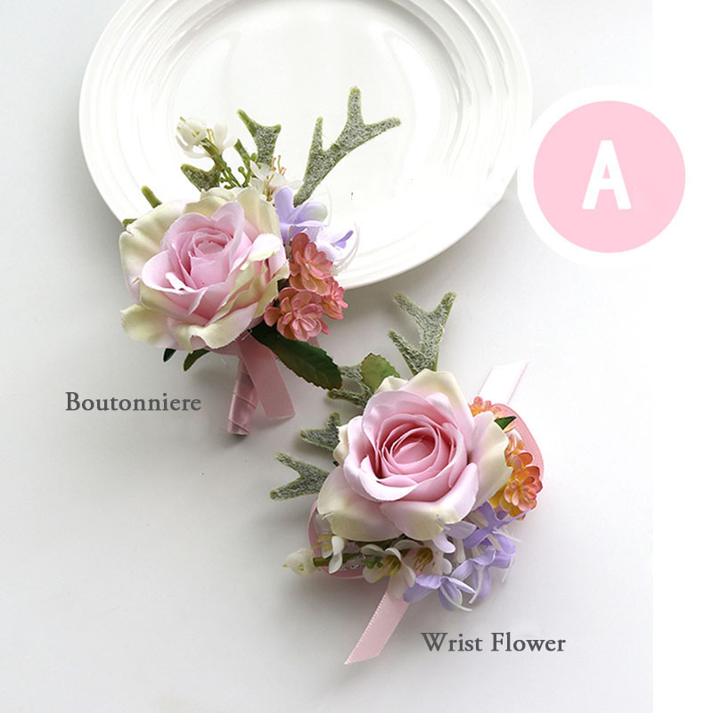 Dropshipping YO CHO Pink Color Bridesmaids Corsage Artificial Rose Flower Wrist Corsage Bracelet Man Boutonniere For Wedding