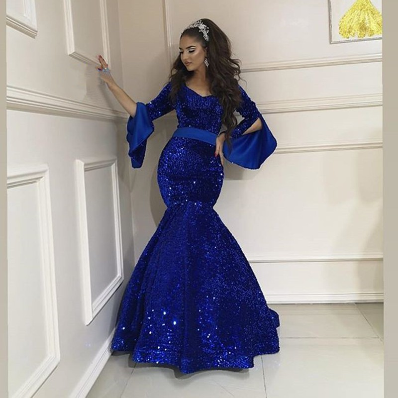 Royal Blue <font><b>Mermaid</b></font> Long Evening <font><b>Dresses</b></font> 2020 Arabic Dubai Style Long Sleeves Sparkly Sequin Formal Evening Gowns Abendkleider image