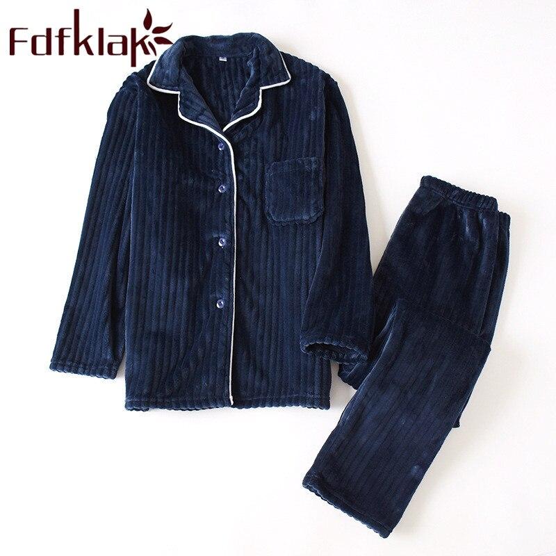 Fdfklak Flannel Pajamas For Men's Warm Pajamas Nightwear For Men Autumn Winter New Sleeping Clothes Pijamas Pyjama Sleepwear