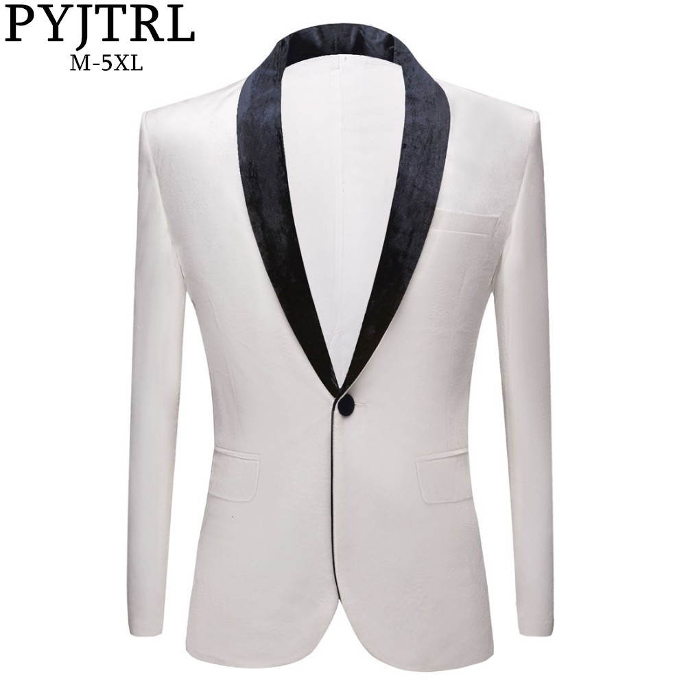 PYJTRL Men's Fashion Autumn Winter Pure White Velvet Slim Fit Blazer Wedding Groom Prom Dress Suit Jacket Stage Singer Costume