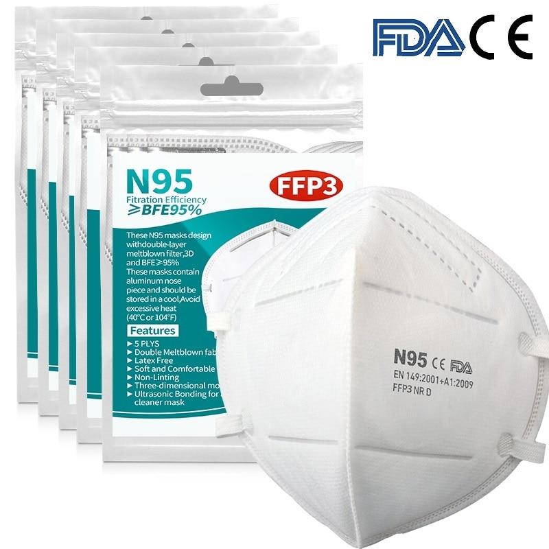 50PCS 5 Layer Mask 99% Filter Dustproof Anti-fog Breathable Face Masks Filtration Mouth Masks Anti-pollution Mask
