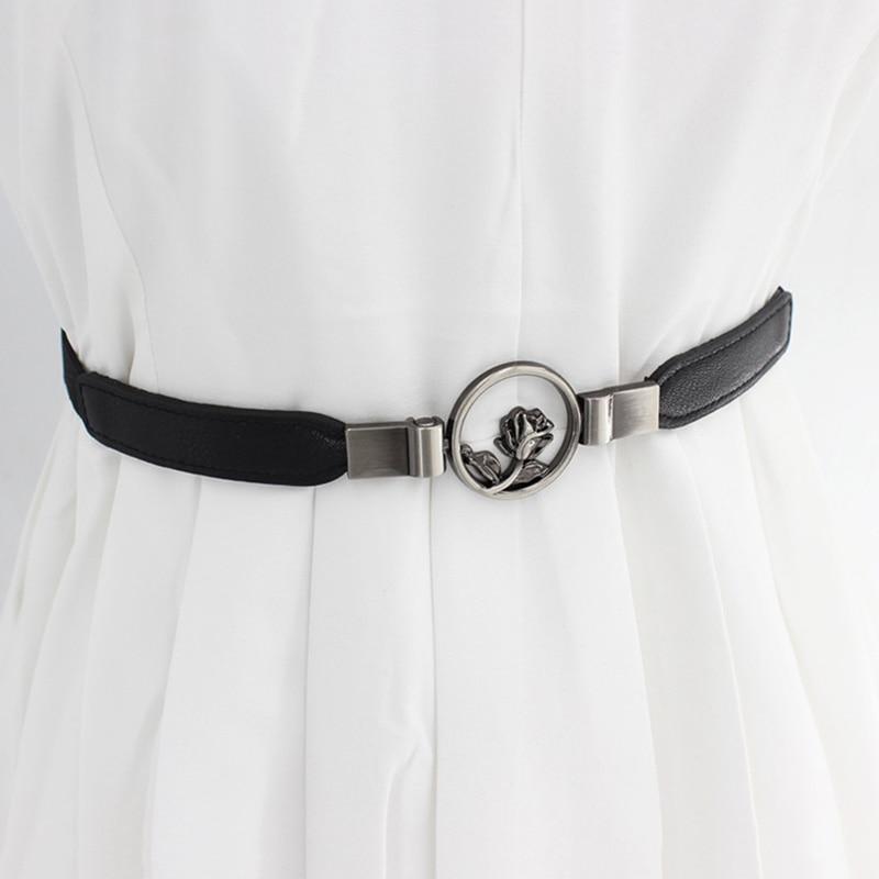Retro Casual Concise All-match PU Leather High-elastic Flower Decoration Buckle Belt For Dress Cummerbund