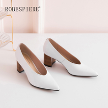 ROBESPIERE Hot Sale Pop Deep V Pumps Quality Genuine Leather Pointed Toe Women Shoes Novelty Brown Square Heels Office A15