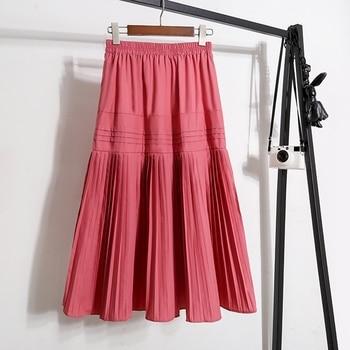 Women casual stitching pleated chiffon skirt summer elastic waist fashion long skirt ladies elegant cotton work skirt women box pleated chiffon skirt