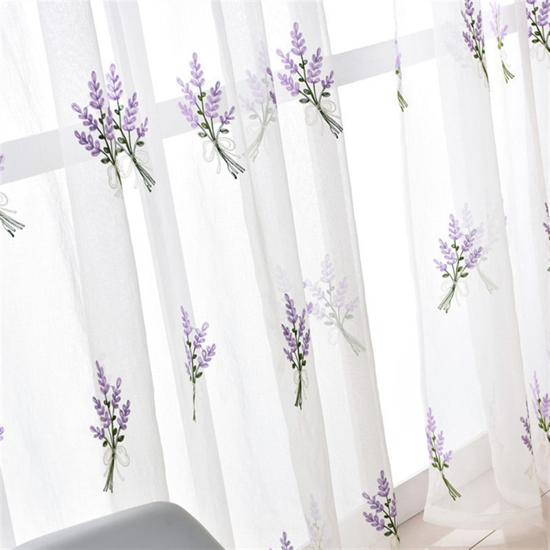 Lavender tulle curtains for  living room  bedroom window White embroidered sheer curtain drape ready made
