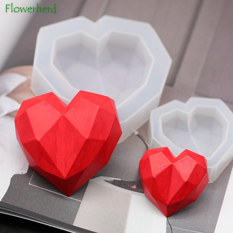 3D Diamond Soap Molds Love Heart Silicone Mold For Soap Making Handmade DIY Car Aroma Diffuser Pendant Gypsum Plaster Heart Mold
