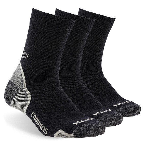 ZEALWOOD Hiking Trekking Socks Merino Wool Socks Warm Winter Outdoor Sports Socks Extreme Cold Weather Socks, 1/3 Pairs