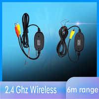 2,4 Ghz cámara de visión trasera inalámbrica RCA Video transmisor y receptor Kit para monitor de retrovisor de coche FM transmisor y receptor