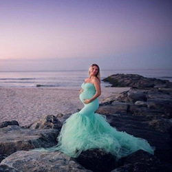 Sexy Shoulderless Maternity Photography Props Dresses Lace Mesh Pregnancy Dress Photo Shoot Maxi Gown Clothes For Pregnant Women