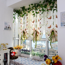 Pastoral style Embroidered Sheer Roman short Curtain For Kitchen Living Room Bedroom Window Home Decor tulle