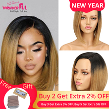 Human Hair Wig Ombre Short Bob Wig Remy Brazilian Straight Hair 150% Density Ombre Color Human Hair Wigs For Women