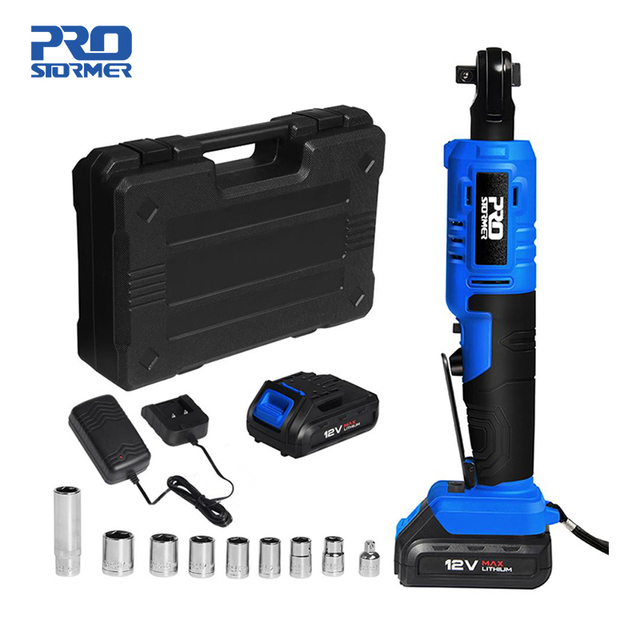 45NM Electric Ratchet Wrench 12V Cordless Wrench 3/8 inch 2000mAh Rechargeable Battery Standable Power Tools by PROSTORMER 1