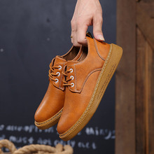 2019 men casual shoes lace-up man shoes flats new fashion comfortable shoes solid men Leather shoes zapatos de hombre цена