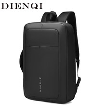 DIENQI mince hommes sac à dos pour ordinateur portable mince 17 pouces ordinateur portable Mochila adolescent mâle cartable USB charge hommes sacs sac à dos(China)