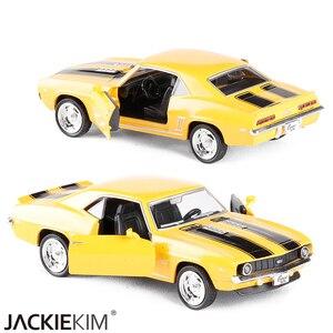 Image 2 - 1/36 ölçekli abd 1969 Camaro SS Vintage mat siyah Diecast Metal araba modeli oyuncak koleksiyonu hediye için çocuklar
