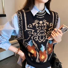 Vest Top Knitted Waistcoat Neck-Sweater Autumn Loose Female Korean Women's New Shoulder