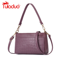 цены Fashion Women Crossbody Bag Black Soft Leather Shoulder Bag Crocodile Print High Quality Messenger Bag Small Flap Bag for Girls