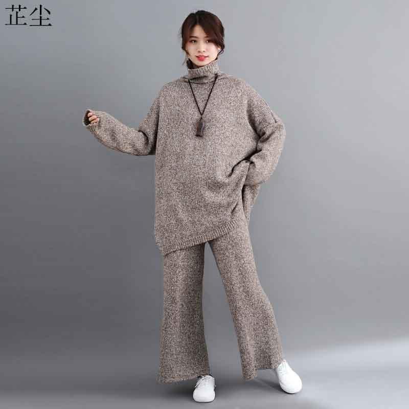 2 Piece Set Plus Size Women Sweater Sets 2019 Autumn Winter Vintage Knitting Suit Big Size Turtleneck Sweater Loose Long Pants
