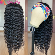 Deep Wave Headband Wig Human Hair Glueless Full Machine Wigs Brazilian Deep Wave Wigs Remy Hair Half Wigs For Women Yepei Hair