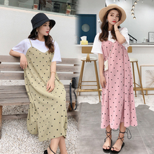 Spring and summer new style Long section of stitching fake two Polka Dot Dress Loose large size chiffon dress