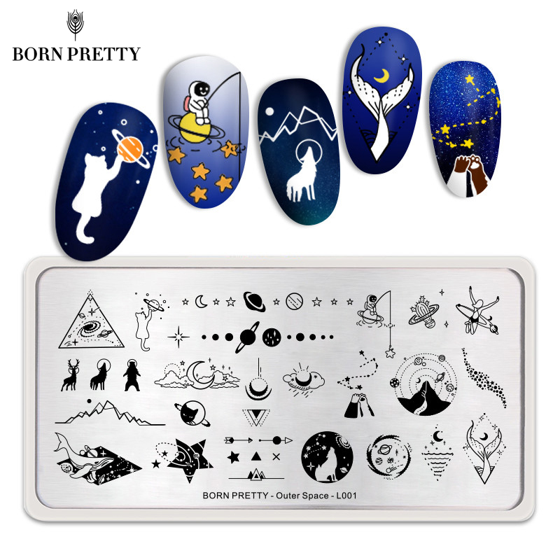 BORN PRETTY Nail Stamping Plates Outer Space Series Moon Star Rectangle Nail Art Template Stencil Tools For Manicuring DIY