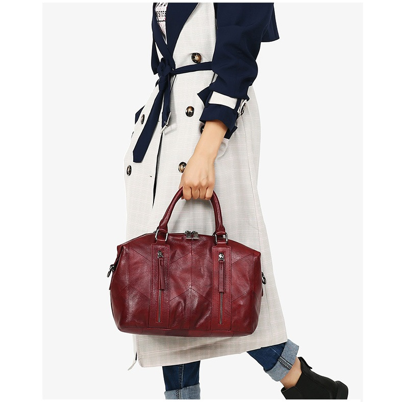 MJ Women Tote Handbag Genuine Leather Female Soft Real Cow Leather Shoulder Bags Solid Large Capacity Ladies Crossbody Bag (9)