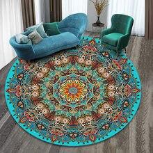 Grande mandala redonda tapete para sala de estar anti deslizamento muçulmano tapetes quarto cabeceira área cadeira do computador esteira decoração da sua casa