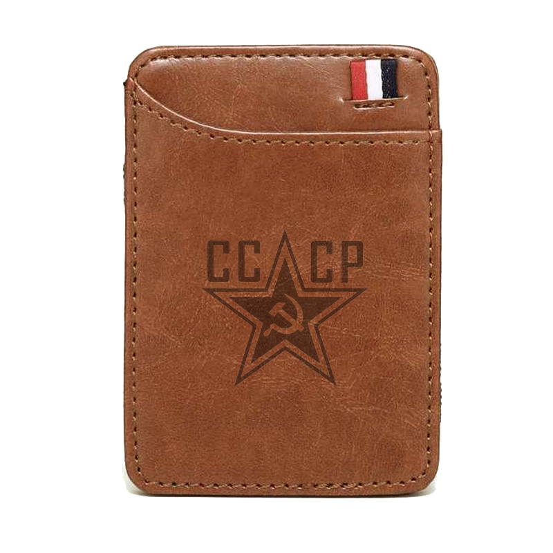 2019 New Fashion  CCCP Soviet Union Scythe Hammer  Leather Magic Wallets Fashion Men Money Clips Card Purse Cash Holder