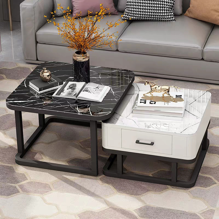Tempered Glass 2 In 1 Combination Coffee Table With Solid Wooden Drawer Storage Center Table For Living Room журнальный столик