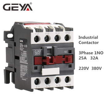 цена на GEYA Din Rail Magnetic Contactor CJX2-2510 3210  3Phase Contactor 1NO 25A 32A 220V or 380VAC  LC1D Contactor Silver Contact
