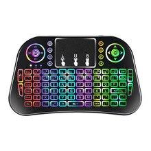 2020 yeni i8 yükseltme 7 renk arkadan aydınlatmalı i10 Mini kablosuz klavye 2.4G Touchpad ile hava fare uzaktan kumanda android TV kutusu