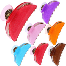 1Pc Hair Clips Accessories Random Color Glitter Acrylic Bathing Anti-Slip Hairpins Crab Claw Clamp Women Barrettes
