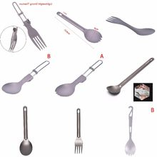 1PCS Titanium Spoon Titanium Fork Camping Spoon Outdoor Tableware Long-handled Titanium Spoon(China)