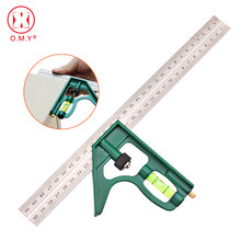 OMY-herramientas profesionales de carpintero, herramienta de medición multifunción de 300MM, combinación de escuadra, transportador de acero inoxidable, 1 ud.