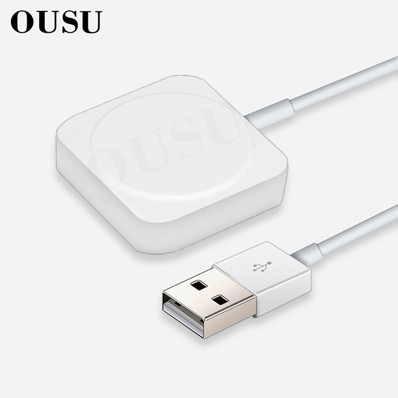 Cargador inalámbrico rápido OUSU para Apple Watch cargador magnético para iwatch 1 2 3 4 5 cargador rápido con Cable USB de 1m